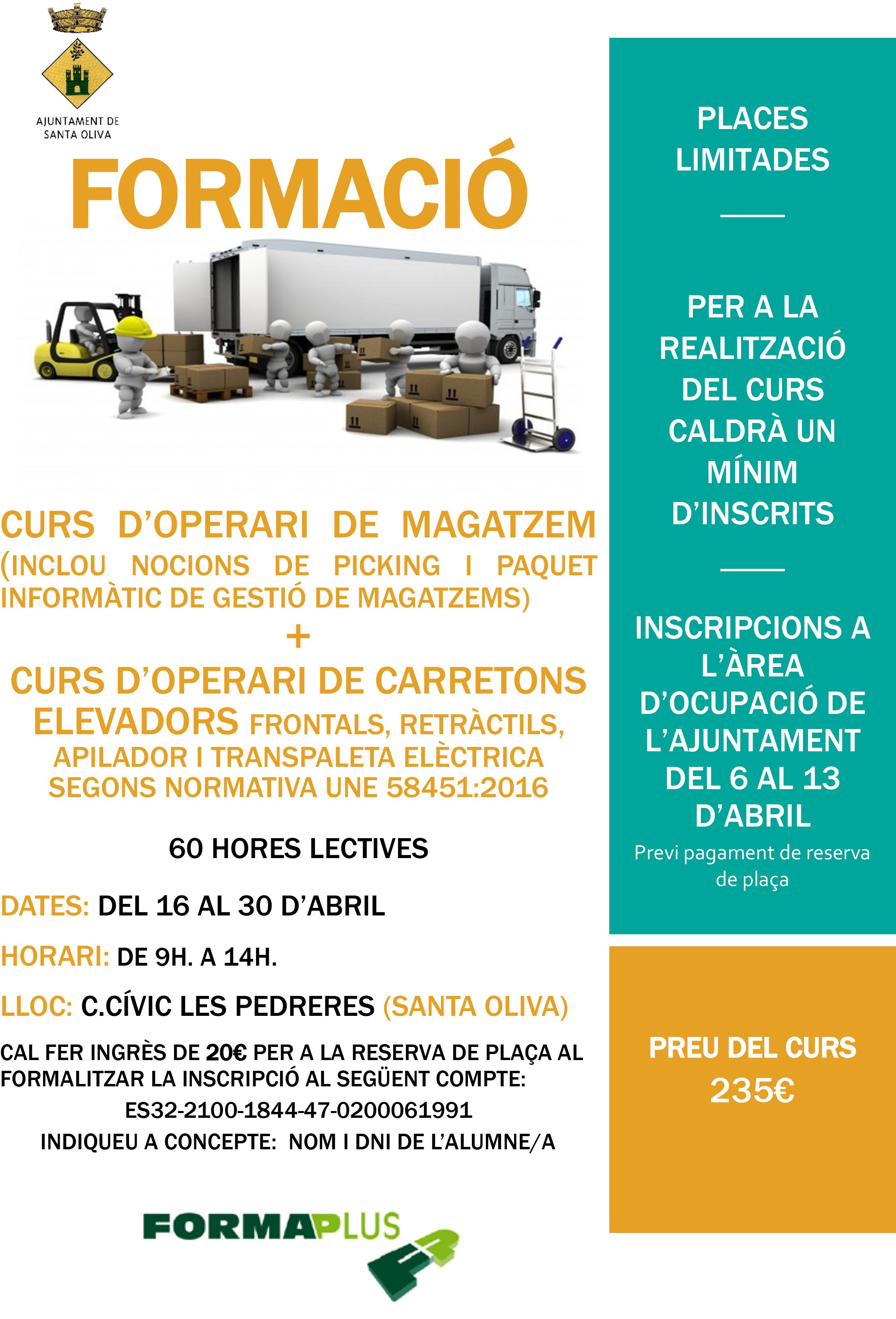 Formació: Curs d'operari de magatzem i curs d'operari de carretons elevadors a Santa Oliva