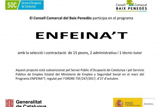 El Consell Comarcal del Baix Penedès inicia les sol·licituds per a 17 contractacions a la comarca
