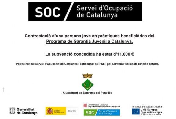 Subvenció del SOC per a la contractació d'una persona jove en pràctiques beneficiàries