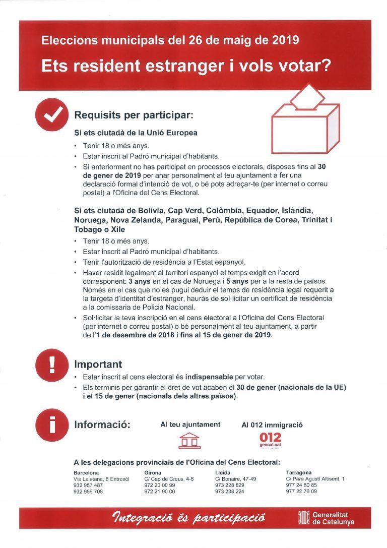 Informació per a residents estrangers en relació amb les Eleccions Municipals de 2019